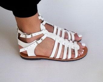 White Greek leather sandals, White gladiator sandals ''Milos''