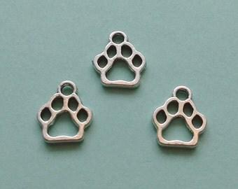 10 Dog Paw Print Charms Silver - CS2329