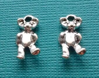 10 Teddy Bear Charms Silver - Bear Charm- Stuffed Bear Charm - CS2051