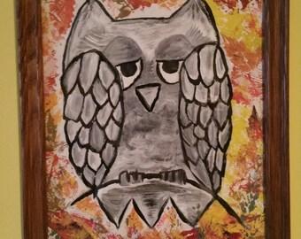 Autumn Owl hand painted acrylic