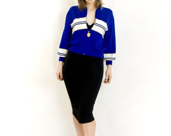 Vintage St. John Knits Knit Bomber Jacket Cobalt Blue with White and Gold Stripe