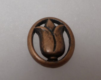 3 tulip metal buttons - copper - 26mm x 22mm