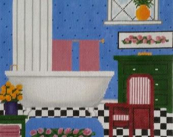 Bathroom scene with vintage clawfoot bathtub handpaint needlepoint 13 mesh
