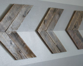 Large Double Stained Wooden Arrow Wall Decor, Set of Three, Chevron Arrows, Handmade, Rustic Reclaimed Wood, Nursery Decor