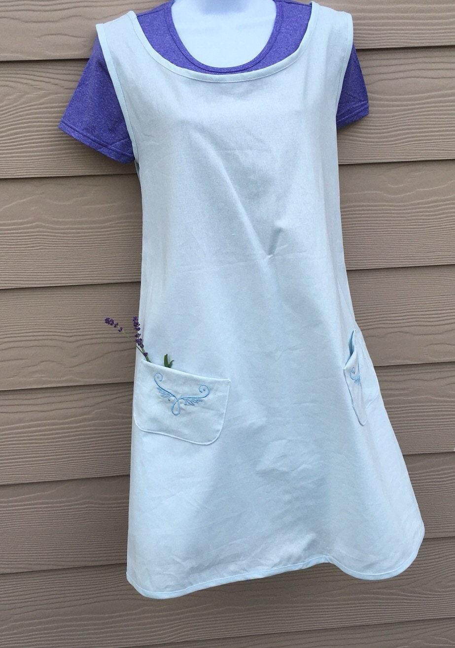Women S Light Blue Linen Pinafore Tunic Linen Apron