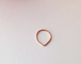 Triangle Septum Ring, Rose Gold Septum Ring.