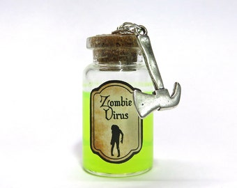 Zombie virus glass bottle - Walking dead inspired - Bottle Necklace - Zombie - Necklace - Virus Potion - Liquid Vial Charm - Halloween