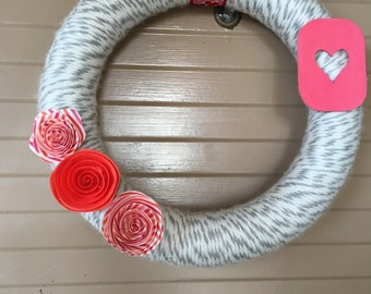 Hearts and Flowers Yarn Valentine's Wreath
