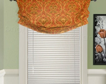 """Custom Valance Relaxed Roman Faux Shade Orange and Green Floral Leaf Scroll Damask 32"""" to 40"""" wide Customer's Choice"""