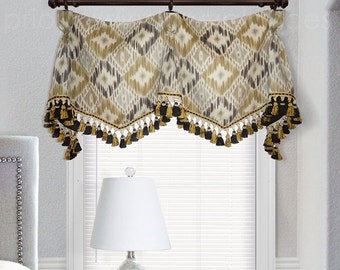 "Custom Valance Goblet Pleated P Kaufmann Padna Mineral Gold Gray White Charcoal Ikat  Black Gold Tassel Trim 31"" to 35"" wide"