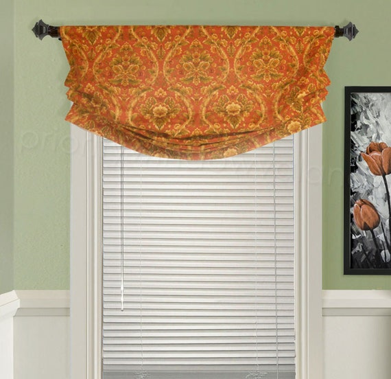 Custom Valance Relaxed Roman Faux Shade Orange And Green