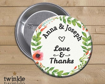 "2,25"" Personalized Wedding Favor Pins, Mirror or Magnet / Bottle opener - Pack of 10"