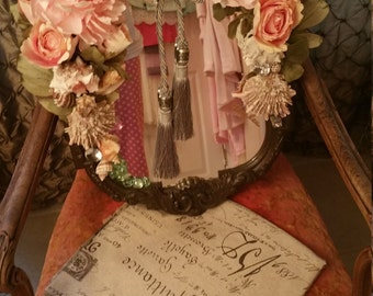 flowers and seashell mirror