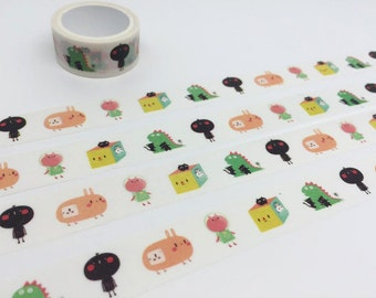 cartoon characters tape 3M Cute cartoon Cat rabbit animal washi tape funny cartoon sticker tape pet planner pet diary scrapbook gift