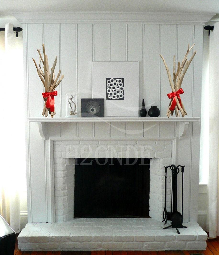 Modern Driftwood Fireplace Shelf Mantel Sculpture Decoration
