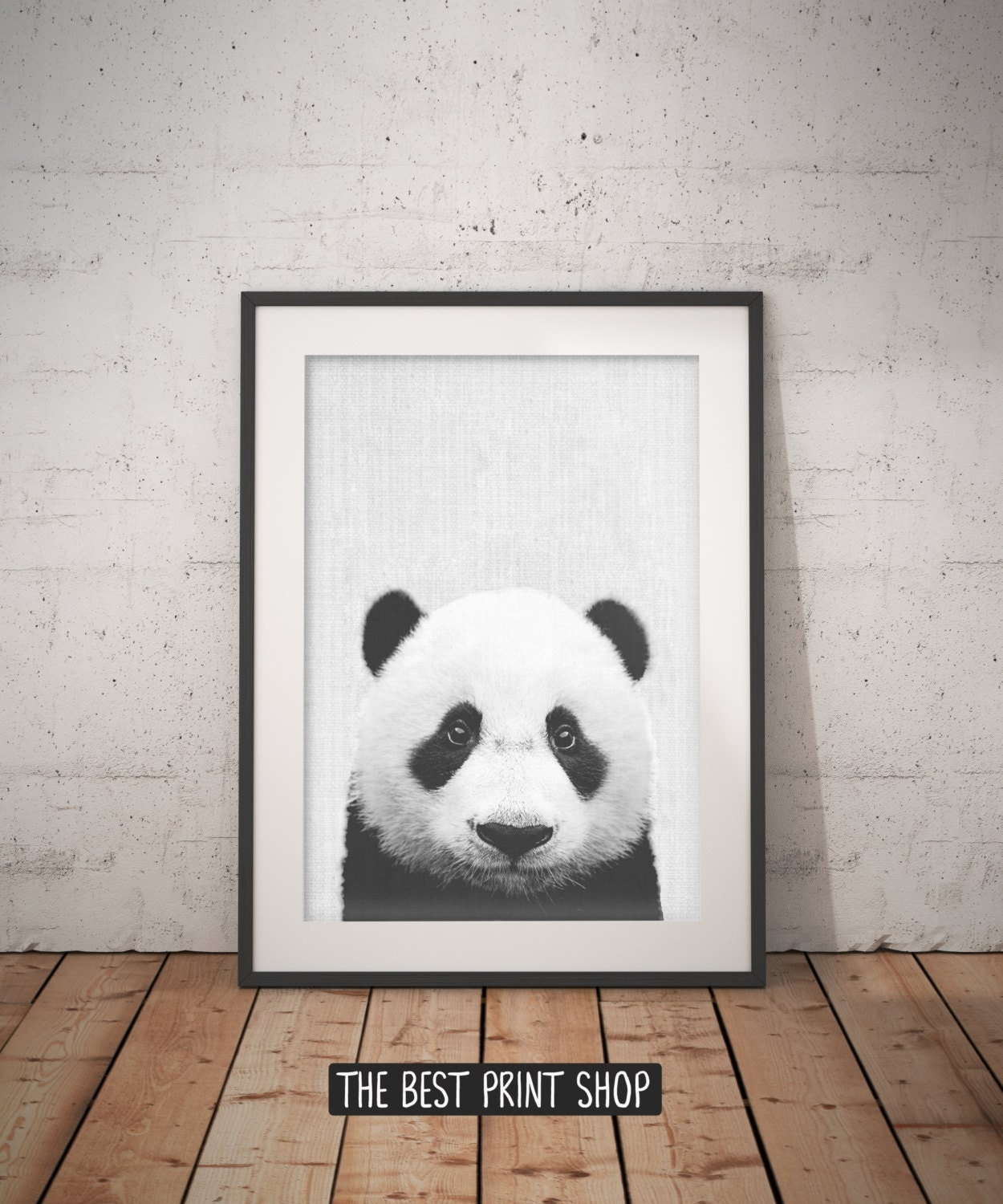 Panda print panda bear panda wall decor panda photo black for Panda bear decor