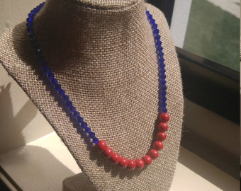 Trendsetter collection: Miss Trisha sapphire crystal & red stone bead 20'' necklace