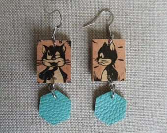 Recycled Leather Earrings with Vintage Portuguese Cartoons