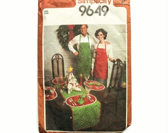 1980 Vintage Sewing Pattern - Simplicity 9649 - Table Runner Aprons Placemats