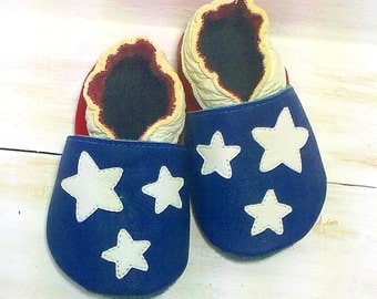 USA lovers soft sole leather shoes, leather baby shoes, baby pre-walkers, soft soled baby shoes, baby slippers, toddlers moccasins