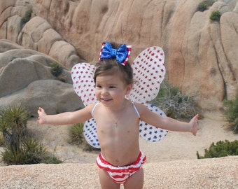 4th of July Bow, Fourth of July Bow Clip, Fourth of July Headband, 4th of July Headband, American flag bow, Military Bow, Patriotic Baby Bow
