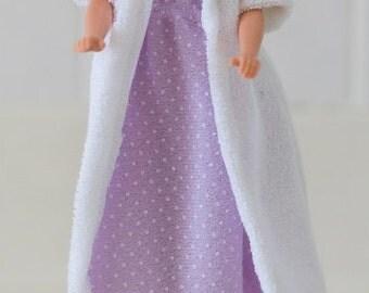 "11.5"" Fashion Doll Clothes, Nightgown and Bathrobe Set, Handmade"
