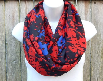 Red / Blue / Black  Floral Infinity Scarf