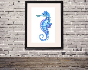 Sea Horse Print of Hand Painted Watercolor Art 8 x 11