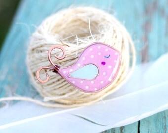 Cute pink bird brooch, polka dots jewelry, kawaii polymer clay brooch