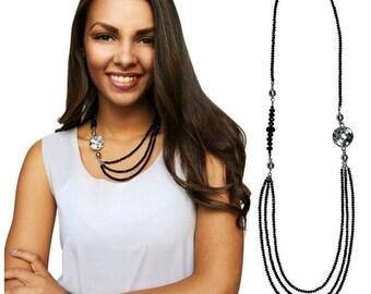 Swarovski Crystal Necklace Black Crystal