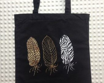 Totebag black cotton; feathers Zebra leopard, Golden and printed sequins.