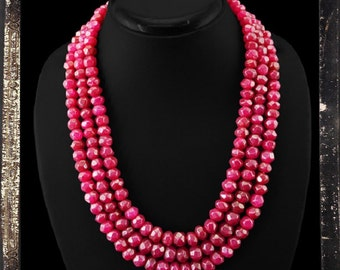 20% OFF COUPON!!!---Red Ruby Bead Necklace, 3 strand, 855 ctw
