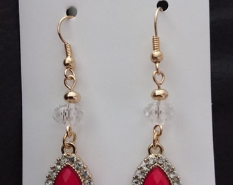 Red and Gold Summer Shiny Drop Earrings