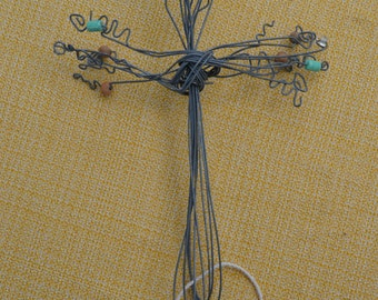 Cross - Wire and Glass Beads