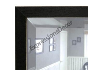 Custom Rough-Edged Black Wood Wall Mirror - Beveled Glass - FREE SHIPPING