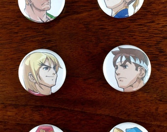 """Street Fighter!  1"""" Button pin back and Magnet set of 6"""