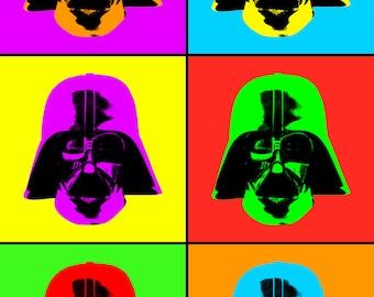 Darth Vader Poster Pop Art - Star Wars Alternative Poster - Pop Colorful Art - Fiction Sci-fi Movie - Han Solo, Kylo Ren, Luke Skywalker