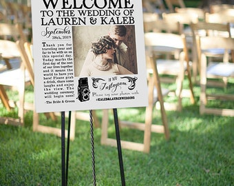 Custom Vintage Newspaper-Style Wedding Welcome Sign! Customized w/ Your Wedding Details! Vintage, Retro, Classy Weddings **Printable Item**