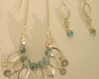 Dreamy Blue Gemstones with sterling silver necklace