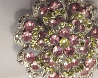 Vintage Green and Pink Diamante Brooch