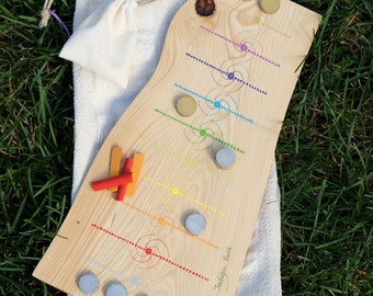 Puluc game of the Guatemala wooden craft for child made and painted by hand, chakras and Fibonacci spiral, ideal Christmas gift