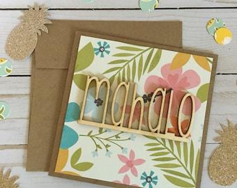 Mahalo Greeting Card | Hawaiian Greeting Card | Wood Greeting Card | Thank You Card | Tropical Greeting Card | Hawaiian Thank You Card