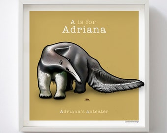 Personalised children's name and Anteater animal illustration, Letter 'A', A-Z of Animals, giclee print, 50 x 50 cm, bedroom wall art.
