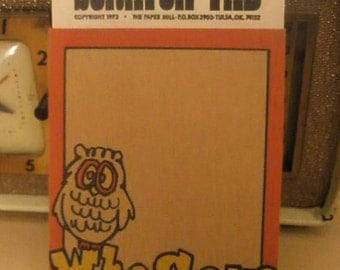 """Vintage """"Scratch Pad"""" note pad with owl"""