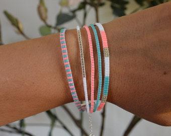 Bracelet/cuff woven multi-strand beads Miyuki Delicas 11/0 - bit, clasp and chain in 925