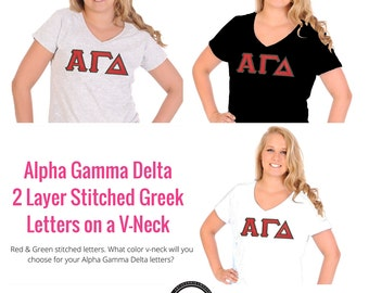 Alpha Gamma Delta Shirt . V-Neck . Two Layer Stitched Greek Letters