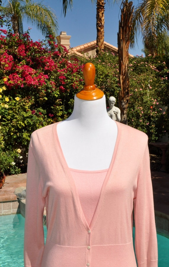 Women's Two Piece Pink Ann Taylor Silk and Cashmere Sweater Set Sz L Large