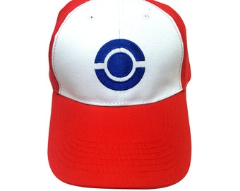 Pokeball Baseball Cap Like The Pokemon Hat Worn By Ash Ketchum TV Show Game Movie Cosplay Embroidered Go Original Trainer Costume White Red