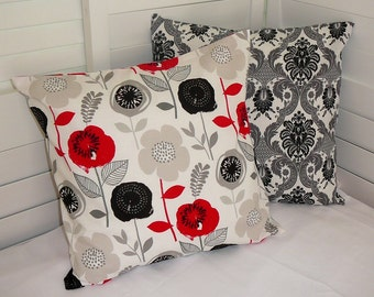 Pillow Cover, Throw Pillow Cover, Decorative Pillow Cover, Cotton Print Fabric, Red Black Grey White