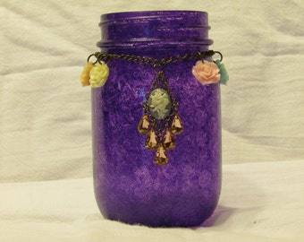 Purple Jar with Roses